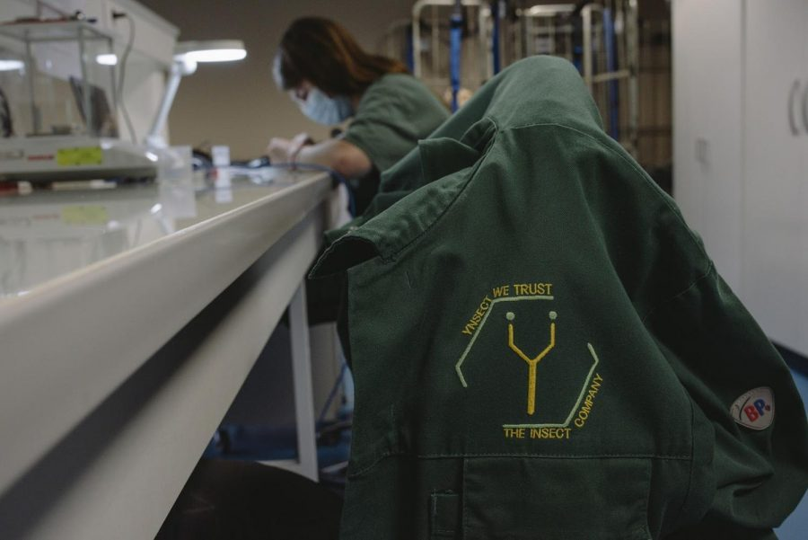 The trademark Ynsect jacket pictured in the Ynsect facility, in France.