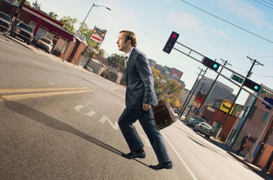 Better Call Saul Season 2 Poster. Pictured: Jimmy McGill (aka Saul Goodman) walking uphill.