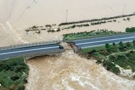 The floods washed away a bridge in Sardinia